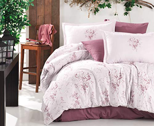 ZIRVEHOME Baumwolle Bettwäsche 240x220 cm, Rosa, Blumen Muster, 5 teilig Set, King Size 100% Baumwolle/Renforcé, Verdeckter Reißverschluss, Model: Este V2