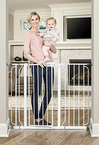 Regalo 37-Inch Extra Tall and 49-Inch Wide Walk Thru Baby Gate, Includes 4-Inch and 12-inch Extension Kit, 4 Pack of Pressure Mount Kit and 4 Pack of Wall Mount Kit