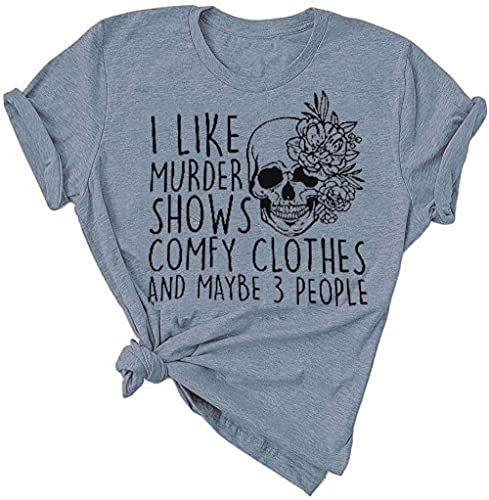 Women Halloween Horror Maybe 3 People Friends Novelty T Shirt Print Short Sleeve I Like Murder Shows Graphic Classic Casual Party Comfy Clothes Summer Fall Top,Ink Blue XXL