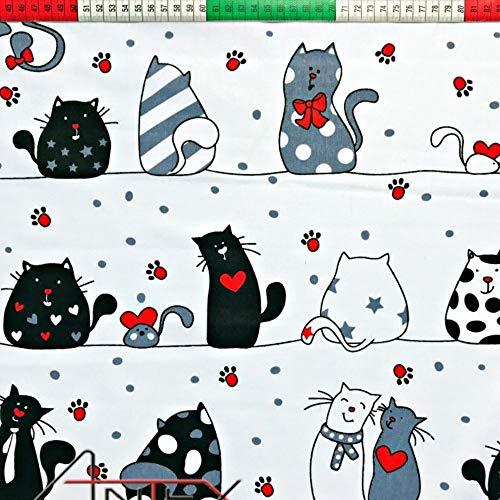 Pingianer 8,98€/m Katze 100% Baumwolle 50x160cm Baumwollstoff Meterware Handwerken Nähen Stoff (Katze Weiß Pfoten)