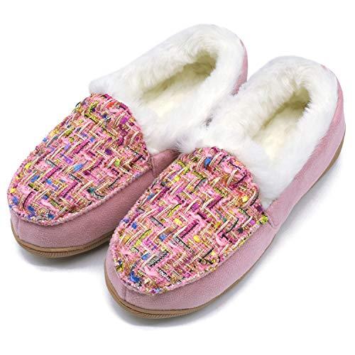 ONCAI Donna Memory Foam Peluche Pantofole Mocassini Caldo Inverno Tweed Casa Pantofole per Interno All'Aperto Gomma Suola,Rosa EU 39