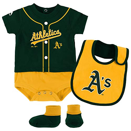 Outerstuff MLB Newborn Infants Tiny Player Creeper, Bib, and Bootie Set (18 Months, Oakland Athletics)