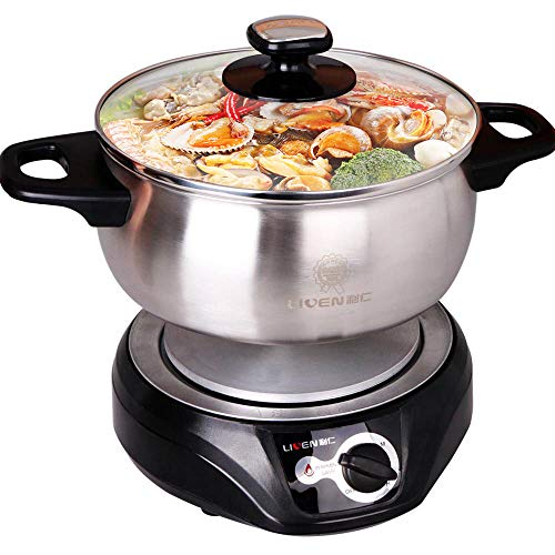 1.8L LIVEN Electric Hot Pot with Separated 304 Stainless Steel Pot Body and Adjustable Power for Shabu Shabu, Cooking Noodles, Boiling Water Small Electric Cooker 1000W 120V DHG-180F