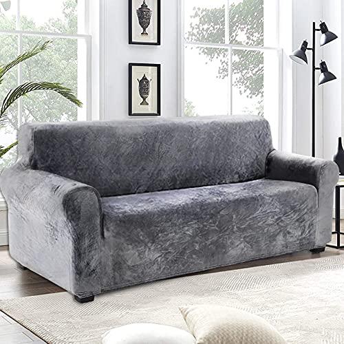 Love House Velvet Plüsch Schonbezug Sofa, Stretch Sofa Überwurf Sofabezug Weich Dick Sofahusse Für L-Form Schnittcouch,1 2 3 4 Sitzer -grau Sofa