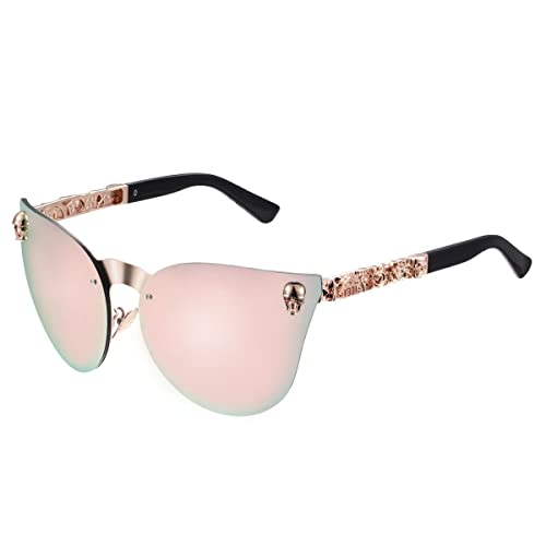 77dbebac5d LOMEDO Mirror Fashion Cateye Sunglasses for Women Skull Stytle UV400  Protection