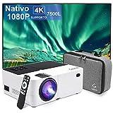 Proiettore Portatile Nativo 1080P 7500 Lumen Mini Proiettore Supporta 4K Home Theater, Mini...