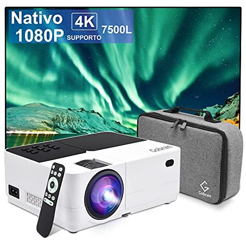 Proiettore Portatile Nativo 1080P 7500 Lumen Mini Proiettore Supporta 4K Home Theater, Mini Videoproiettore 50000 Ore LCD HiFi Altoparlante, Compatibile con Cavo AV Telecamera PC PS4 USB HDMI