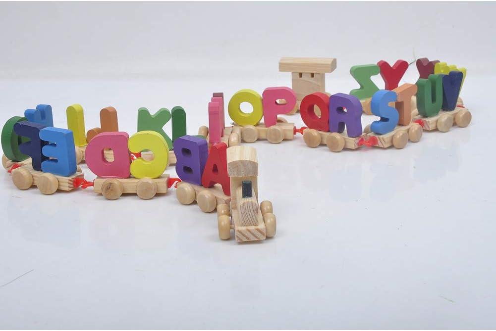 YiGo 1pc Mini Tren Digital De Madera Alfabeto N/úmero Educaci/ón Temprana para La Educaci/ón Preescolar Ni/ños De Juguete Juguetes Accesorios De Tren para El Beb/é Mayor De 1 A/ño