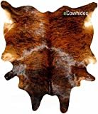 ecowhides Brindle Brazilian Cowhide Area Rug, Cowskin Leather Hide for Home Living Room (XXL) 8 x 7 ft