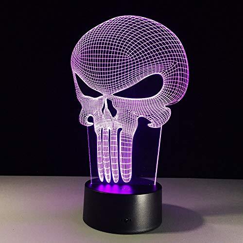 jiushixw 3D acryl nachtlampje met afstandsbediening van kleur veranderende lamp strakke schedel batterij aangedreven tafellamp oplaadbaar