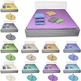 Qool24 Bettlaken Flanell mehrere Farb- & Größen Varianten Bettüberwurf ohne Gummizug 100% Baumwolle Grau 240 x 250 cm