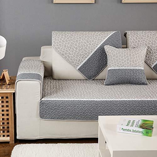HUANZI SOFA Antideslizante Color sólido Sofá Fundas Universales Fundas de Toalla de sofá Protector de Muebles,para niños/Mascotas,Gray,1piece110*240cm