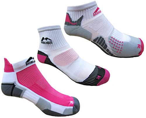 More Mile Womens London, Miami and San Diego Running Socks (3 Pair Pack) Size 5-8