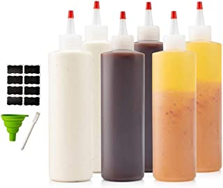 6-pack 16 oz Premium Condiment Squeeze Bottles for Sauces, Paint,Oil, Condiments,Salad Dressings, Arts and Crafts - BPA Free- Food Grade-Includes Funnel, Erasable Marker and Reusable Labels
