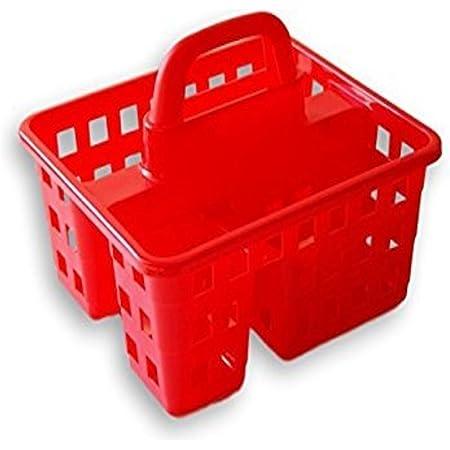GREEN BRIAR College Dorm 3 Compartment Plastic Shower Caddy/Tote 8x10x7 (Red)