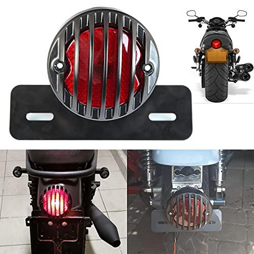 JMTBNO Motorrad Rücklicht Bremslicht 12V mit Kennzeichenbeleuchtung Universal Kompatibel mit Harley Custom Bobber Chopper Cruiser Cafe Racer