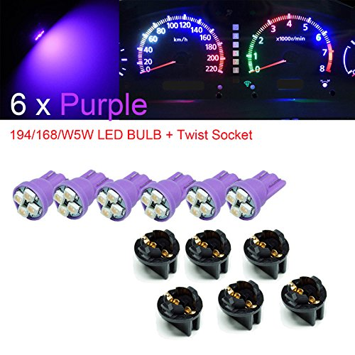 "PA 6 x T10 168 194 Led instrument Panel Dash Light Bulb 1/2"" Twist Lock Socket -12V (Purple)"
