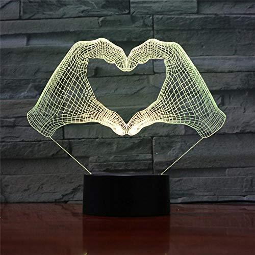 Nachtlampje Action Figuur 7 van de liefdesgebaar LED van de lamp 3D geeft optische illusie van de noodstabel-decoratie