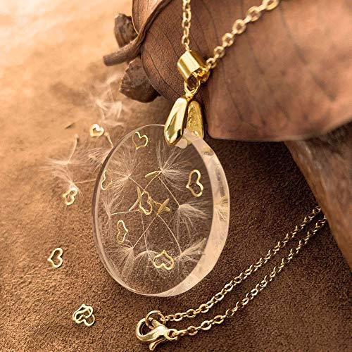 Golden Hearts- Pide un deseo Collar | Collar de deseo de diente de león real | Encanto de la buena suerte | Joyería hecha a mano de flores reales | Regalo único para San Valentín | 02RO