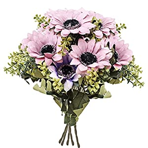 HEYJUDY Artificial Fake Flowers Bundles 5PCS Sunflowers Artificial Multi-Color Bouquet for Wedding Decor Arrangements Decor Wedding Home Kitchen Office Windowsill Summer Decorations