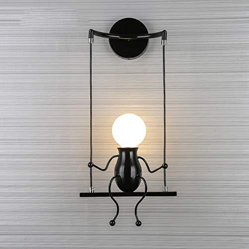 MC Modische Liebespuppe, für Kinder, Wandleuchte, modern, Wohnzimmer, Schlafzimmer, kreativ, Nachttisch, Wand, Licht, Urlaub, Hochzeitsgeschenk Schwarz