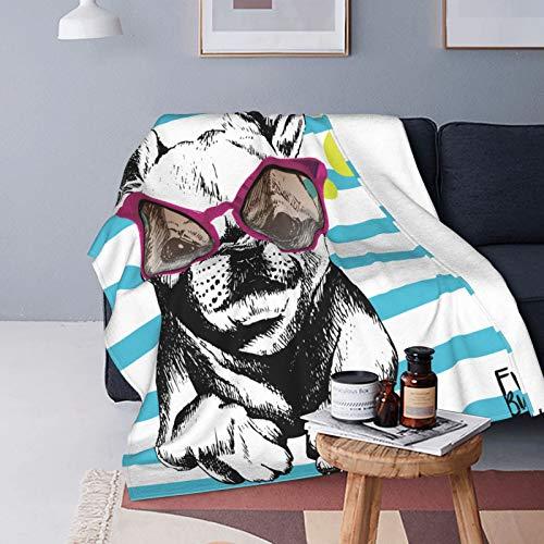 QINCO Suave Micro Lana Manta de Tiro Decor del Hogar,Retrato de Bulldog Francés con Las Gafas de Sol Brillante Hola Verano Perro doméstico Rayas cerúleas,Ligero Sofá Cama Edredón de Franela,50' x 60'