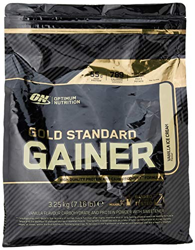 Optimum Nutrition Gold Standard Gainer Weight Gainer Whey Protein Powder with Vitamins, Creatine and Glutamine. Protein Shakes by ON - Vanilla Ice Cream, 16 Servings, 3.25kg