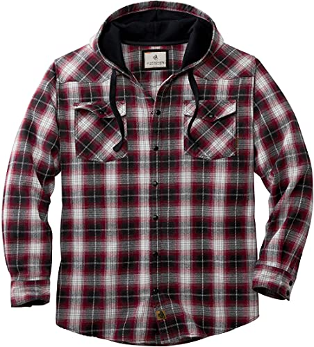 Legendary Whitetails Men's Backwoods Hooded Flannel Shirt, Deep Red Plaid, Small