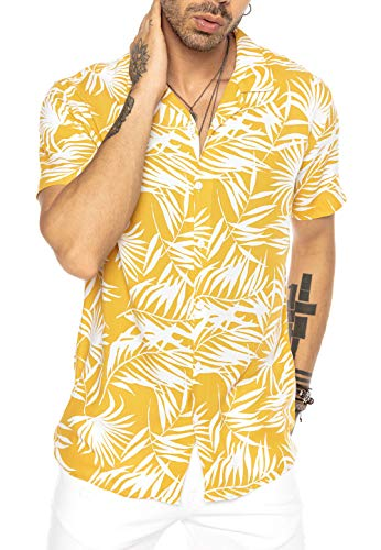 Herren Hawaii Hemd Kurzarm Shirt Design Aloha Casual Mustard M