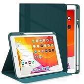 DYDRIN iPad 10.2 第8世代/第7世代 ケース (2019/2020モデル) ipad Air 3 / Pro 10.5 ケース 通用 PU レザー 手帳型 Apple Pencil 一代収納可能 スタンド機能 [オートスリープ/ウェイク] [ペンシルホルダー付き] [ブックカバーデザイン] [角度調節可能な鑑賞スタンド] iPad 10.2インチ /Air 3 / Pro 10.5 インチ 通用カバー (iPad 10.2/Air3 10.5/Pro 10.5, ミッドナイトグリーン)