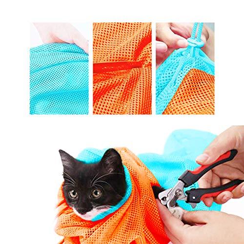 XLSFPY 猫用 ネット みのむし袋 洗濯キャットバッグ 保定袋 メッシュ 猫 おちつく つめきり 爪切り 点眼 耳...