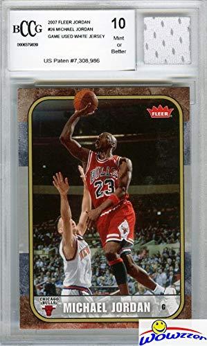 2007 Fleer Michael Jordan with Piece of Authentic Michael Jordan Chicago Bulls Game Used Home Jersey Graded BGS Beckett 10 MINT GGUM Card! Jordan Card in 1986 Fleer Rookie Design !