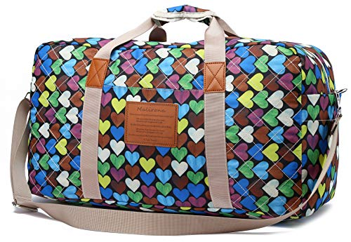 Malirona Canvas Weekender Bag Travel Duffel Bag for Weekend Overnight Trip (FB245)