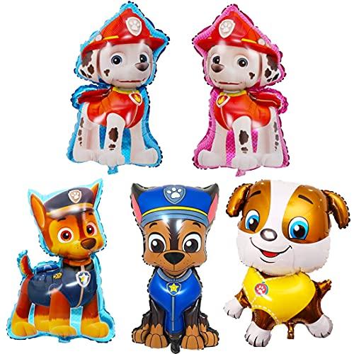 Paw Dog Patrol Foil Globos de Cumpleaños Decoración, Helio para Globos patrulla canina for Kids Gift Fiesta Birthday Party Suministros Foil Balloons Decoración 5 PC