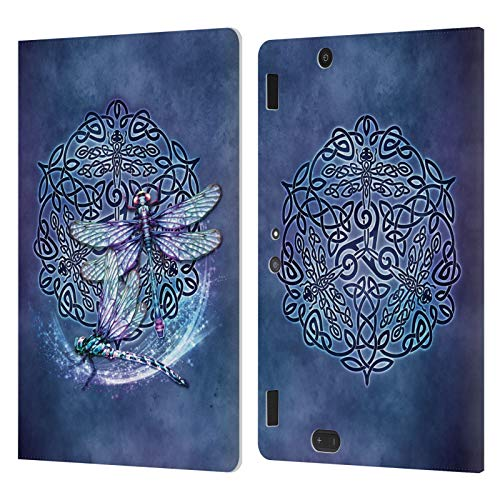 Head Case Designs Officially Licensed Brigid Ashwood Dragonfly Celtic Wisdom Leather Book Wallet Case Cover Compatible with Amazon Kindle Fire HDX 8.9