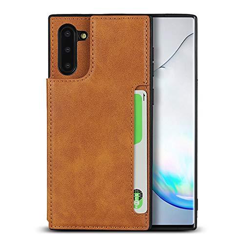 FAWUMAN Coque pour Samsung Galaxy Note10,Cuir Premium Flip Portefeuille, Fentes de Carte, Stand Fonction, Magnétique Flip Case Cover Etui pour Samsung Galaxy Note10-Kaki