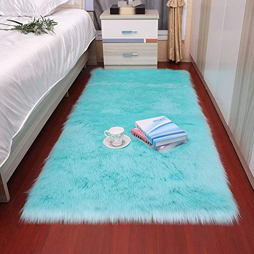 TYXL Carpet Sky Blue Square Teppich Plüsch Rundheitsrutschfeste, Bodenmatten, Polsterung, Wohnzimmer Teetisch Schlafzimmer Sofa-Kissen-Fuss-Kissen (Size : 60 * 180cm)