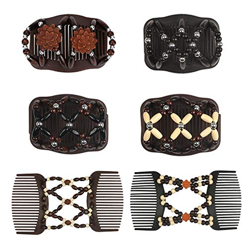Matogle 6pcs Beads Hair Combs Magic Hair Double Clips for...