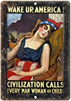 Wake Up America Civilization Calls 金属板ブリキ看板警告サイン注意サイン表示パネル情報サイン金属安全サイン