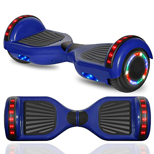 """cho New Hoverboard Electric Smart Self Balancing Scooter with Built-in Wireless Speaker 6.5"""" LED Wheels and Side Lights Safety Certified (Solid Blue)"""