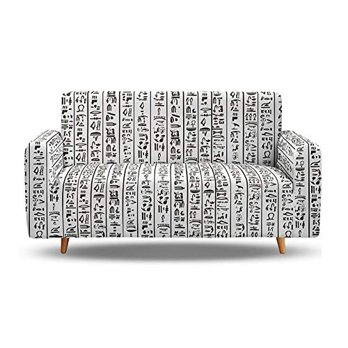 Huiteng Fundas de sofá con diseño de texto en inglés 'Loveseat Texto', elegante, duraderas, a prueba de polvo, lavables (dos asientos)