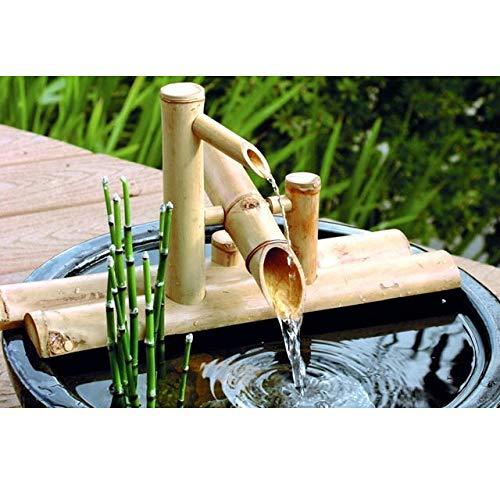 zenggp Garten Bambus Wasserspiel Wasserspiel Auslauf mit Pumpe Gartendekoration Wasserfall Outdoor Japanisches Garten Feature,50cm