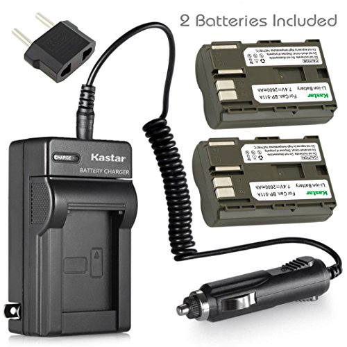 Kastar Battery (X2) & AC Travel Charger for Canon BP-511 BP-511A and EOS 5D 10D 20D 30D 40D 50D Digital Rebel 1D D60 300D D30 Kiss Powershot G5 Pro 1 G2 G3 G6 G1 Pro90 Optura 20, Grip BG-E2N