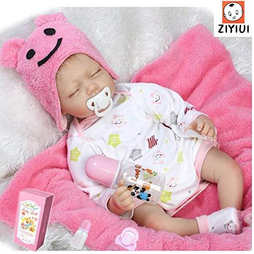ZIYIUI 22inch 55CM Reborn Muñeca niños Vinilo Suave Silicona Bebé Realista Baby Doll Juguetes niñas Recien Nacidos Ojos Abiertos