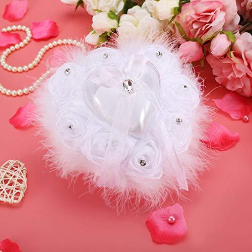 Portafedi nuziali Cuscino per anelli Dimensioni compatte Cuscino per anelli a forma di cuore Matrimonio Camera da letto Decor Accessori per matrimoni Puntelli per foto per posizionare un(white, small)