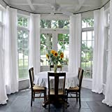 Drapifytex Solid Sheer Curtain Pinch Pleated Drapery Living Room White Curtain 50 inches Width 96 inches Long Curtain (1 Panel)