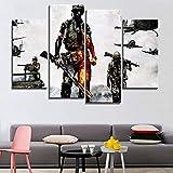 ANTAIBM 4 carteles de pintura de arte de pared marco de madera-diferentes tamaños-diferentes estilos4 piezas Modern Canvas Art Print Abstract Soldiers Sunset Decorations para Home Pintura decorativa