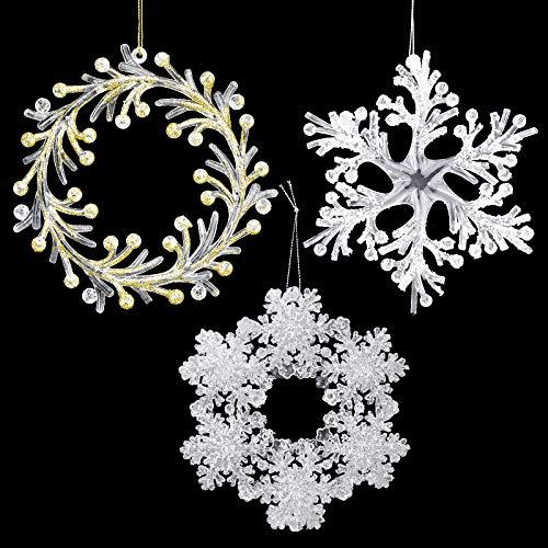 DESON 3 Stück Schneeflocken Weihnachten Deko Acryl Kristall Baumanhänger für Weihnachtsbaum Glitzer Weiß Weihnachtsbaumschmuck