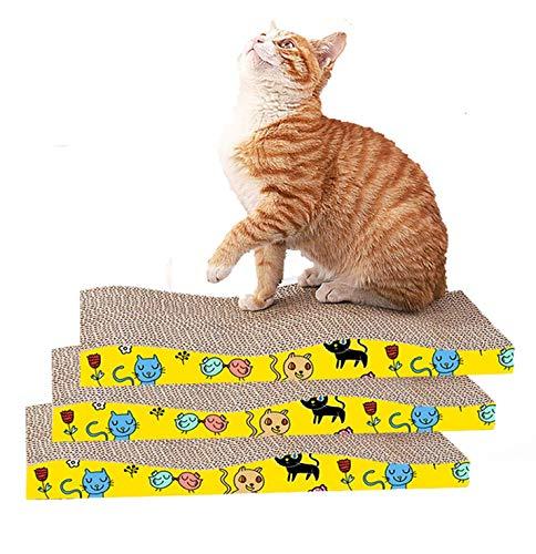 Huanhong Rascador de gatos de cartón para gatos y perros, almohadilla para rascar con ondulada curvada de hierba gatera gata, sofá de cartón ondulada, 19,6 x 11,8 x 3,9 pulgadas, paquete de 3