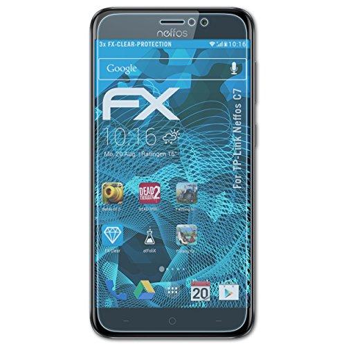 atFolix Schutzfolie kompatibel mit TP-Link Neffos C7 Folie, ultraklare FX Bildschirmschutzfolie (3X)